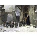 Painting - Children Leaving School - Benjamin Vautier (1829-1898)